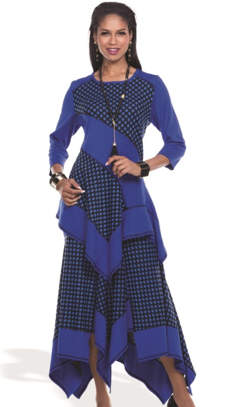 Donna By Donna Vinci 18094-RB ( 2pc Novelty Knit With Jacquard Donna By Donna Vinci Tunic And Skirt Set )