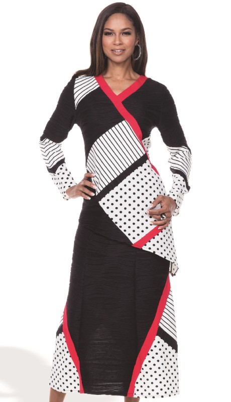 Donna By Donna Vinci 18096-BWR ( 2pc Novelty Knit With Jacquard Donna By Donna Vinci Tunic And Skirt Set )