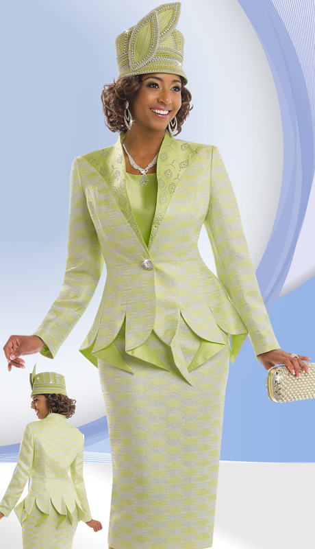 DonnaVinci 5557 ( 3pc Exclusive Novelty Womens Church Suit With Silk With Rhinestone Buckle And Trims )