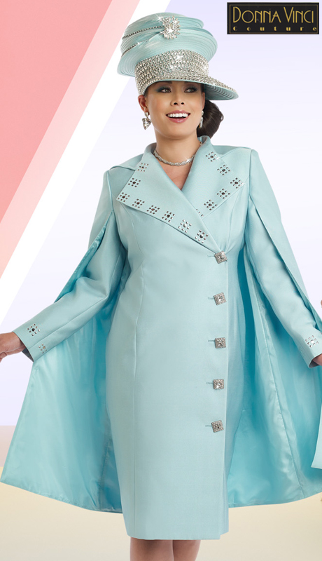 DonnaVinci 11510 ( 1pc Exclusive Silk Church Dress With Silver Studs And Elaborate Rhinestone Buttons With Attached Cape )