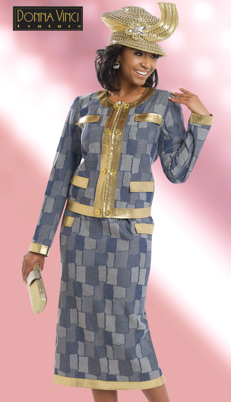 DonnaVinci 5564 ( 2pc Exclusive Novelty Denim Patchwork Womens Suit With Gold Trims )