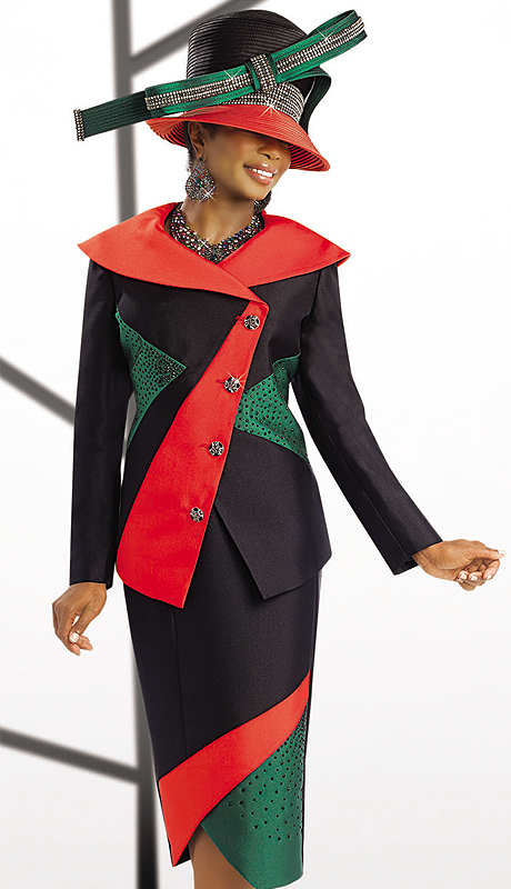 Donna Vinci 11508-BOGCO ( 2pc Exclusive Silk Look Ladies Skirt Suit For Church With Clear And Black Rhinestones)