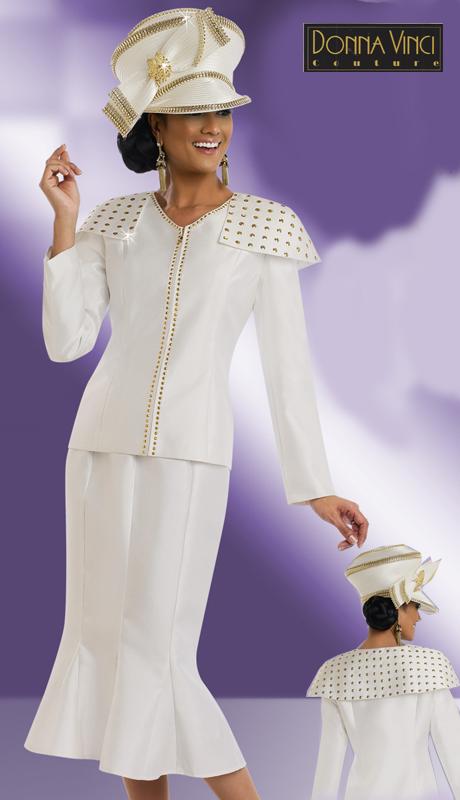 DonnaVinci 11522CO ( 2pc Exclusive Silk Church Suit With Gold Trims )