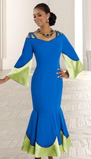 Donna Vinci 11563 ( 1pc Peachskin With Satin And Rhinestone Shoulder Trims, Womens Church Dress )