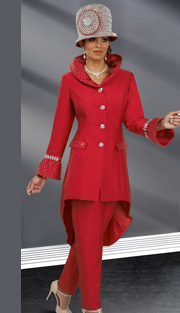Donna Vinci 11567 ( 2pc Silk Look Womens Pant Suit With Rhinestone Trim And Buttons, High Collar And Flounce Sleeves )
