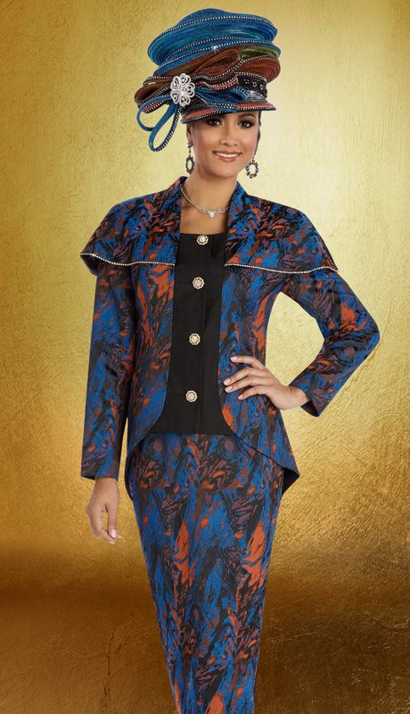 Donna Vinci 5570 ( 2pc Novelty Womens Church Suit With Gold Trimmed Rhinestones And Buttons, Jacket And Skirt )