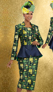 Donna Vinci 11599 ( 2pc Novelty With Solid Silk Look And Colored Rhinestones On Peplum Jacket With Skirt Suit For Women )