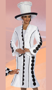 Donna Vinci 11588 ( 3pc Silk Look Womens Church Suit, With Rhinestone And Scallop Ribbon Trim )