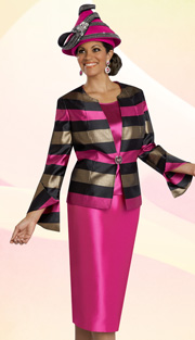 Donna Vinci 5578 ( 3pc Novelty Womens Church Suit With Rhinestone Buckle Wide Stripe Jacket, Solid Cami And Skirt )