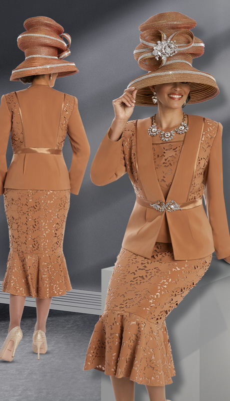 Donna Vinci 11602 ( 3pc Peachskin With Laser Cut Floral Pattern And Large Rhinestone Buckle, Womens Church Suit )