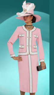 Donna Vinci 11556 ( 2pc Peachskin With Gold Trim And Zipper Closure, Jacket And Skirt For Church )