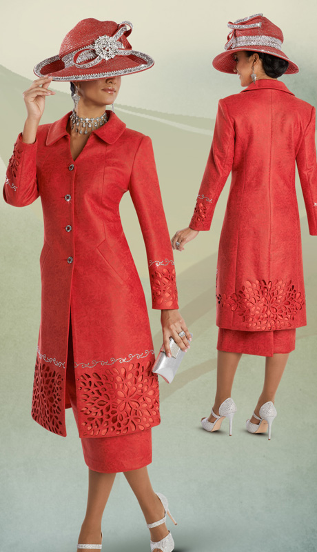 Donna Vinci 11593 ( 2pc Faux Suede With Print And Laser Cut Floral Pattern, Rhinestone Trim On Long Jacket With Skirt, Ladies Suit )