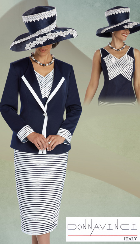 Donna Vinci 11604 ( 3pc Peach Skin Ladies Church Suit With Satin Stripe And Navy Beading On Jacket With Cami And Skirt )