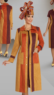 Donna Vinci 5576 ( 2pc Faux Suede Ladies Short Sleeved Dress For Church, With Long Color Block Jacket And Gold Trim )