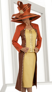 Donna Vinci 5574 ( 2pc Faux Suede Womens Church Suit, With Color-Block And Gold Trim Long Jacket And Skirt )