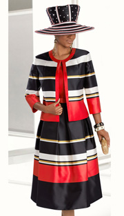 Donna Vinci 5579 ( 3pc Novelty Ladies Suit For Church, With Stripe Jacket, Pleated Skirt And Solid Jacket )