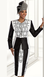 Donna Vinci 11592 ( 2pc Silk Look Womens Church Suit With Houndstooth Pattern Trim Jacket And Skirt )
