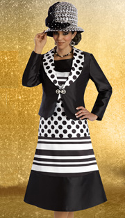 Donna Vinci 11595 ( 2pc Silk Look Ladies Church Dress And Jacket, With Polka Dot And Stripe Pattern )