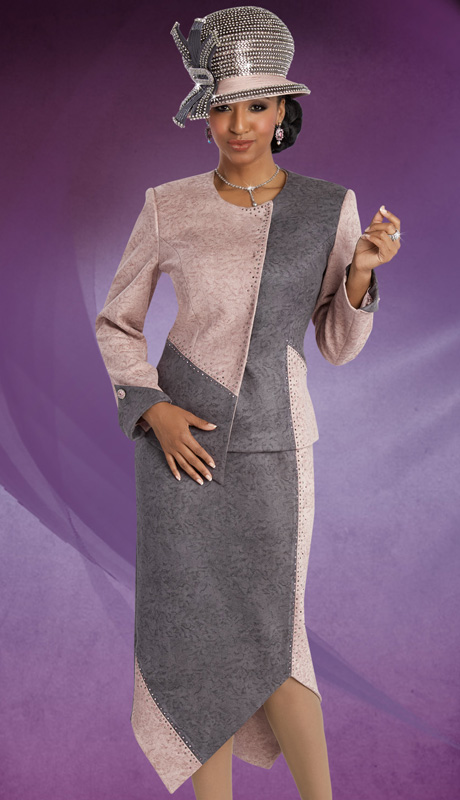 Donna Vinci 11594 ( 2pc Faux Suede Ladies Church Suit, With Color-Block, Rhinestone Trim And Buttoned Cuffed Jacket And Skirt )