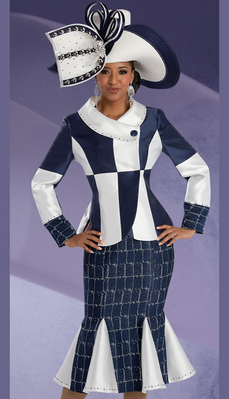 Donna Vinci 11597 ( 2pc Novelty With Silk Look KLadies Suit For Church, With Rhinestone Embellished Jacket And Skirt )