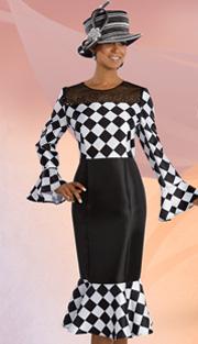 Donna Vinci 11607 ( 1pc Silk Look Womens Church Dress With Black Mesh Front And Rhinestone Trim )