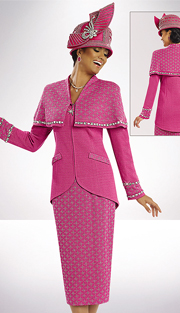 DonnaVinciKnits 13154 ( 2pc Exclusive Knit Ladies Church Suit Trimmed With Large Rhinestones )