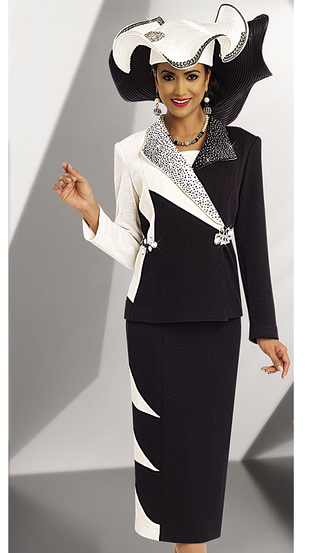 Donna Vinci Knits 13159-BOW ( 2pc Exclusive Knit Ladies Church Suit With Large And Small Rhinestone Trims And Buckle )
