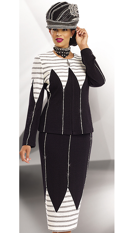 d453d09b5b28 Style: Donna Vinci Knits 13179-OWB ( 2pc Exclusive Knit Jacquard Womens  Suit With Rhinestone Trims )