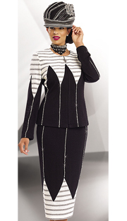 Donna Vinci Knits 13179-OWB ( 2pc Exclusive Knit Jacquard Womens Suit With Rhinestone Trims )