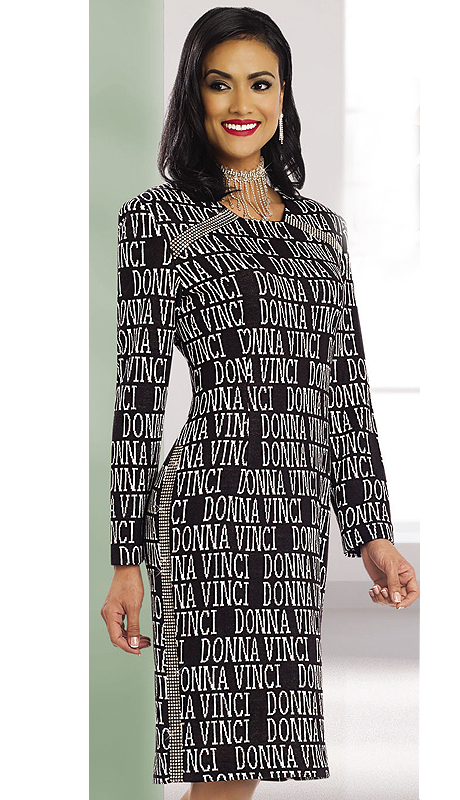 Donna Vinci Knits 13127-BW ( 1pc Exclusive Knit Jacquard Womens Church Suit With Rhinestone Trims )
