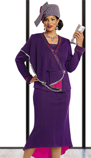 Donna Vinci Knits 13160-PF ( 2pc Exclusive Knit Church Suit With Elaborate Fuchsia And Purple Rhinestones )