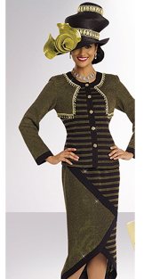 DonnaVinciKnits 13173-BG ( 2pc Exclusive Knit Womens Church Suit With Rhinestones And Gold Buttons )