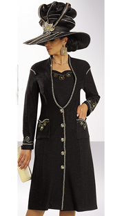 Donna Vinci Knits 13155-BG ( 1pc Exclusive Knit Ladies Dress With Gold Rhinestones With Gold Chain Trim With Buttons )