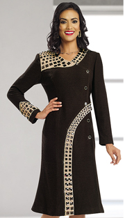 Donna Vinci Knits 13161-CHO ( 1pc Exclusive Knit Womens Dress With Large Brown Rhinestones With Gold And Brown Buttons With Rhinestone Trims )