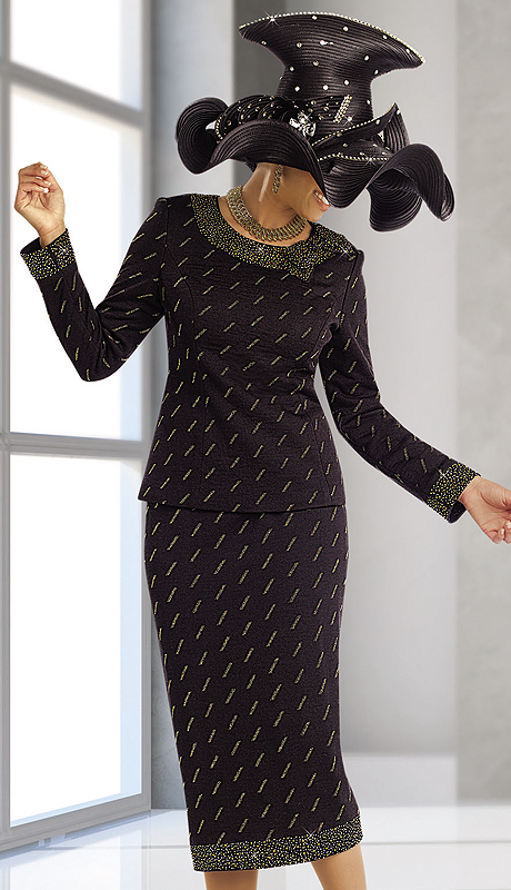 Donna Vinci Knits 13163-BG ( 2pc Exclusive Jacquard Knit Womens Church Suit With Gold Rhinestone Trims )