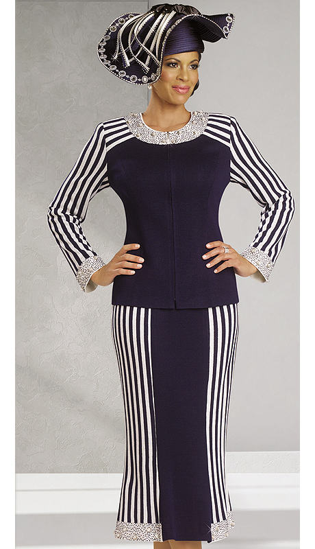 DonnaVinciKnits13145-NW ( 2pc Exclusive Knit Church Suit With Elaborate Rhinestone And Novelty Trims )