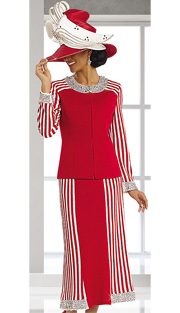 DonnaVinciKnits13145-RW ( 2pc Exclusive Knit Church Suit With Elaborate Rhinestone And Novelty Trims )