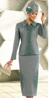Donna Vinci Knits 13168-JA ( 2pc Exclusive Knit Sunday Suit With Elaborate Rhinestone Trims )