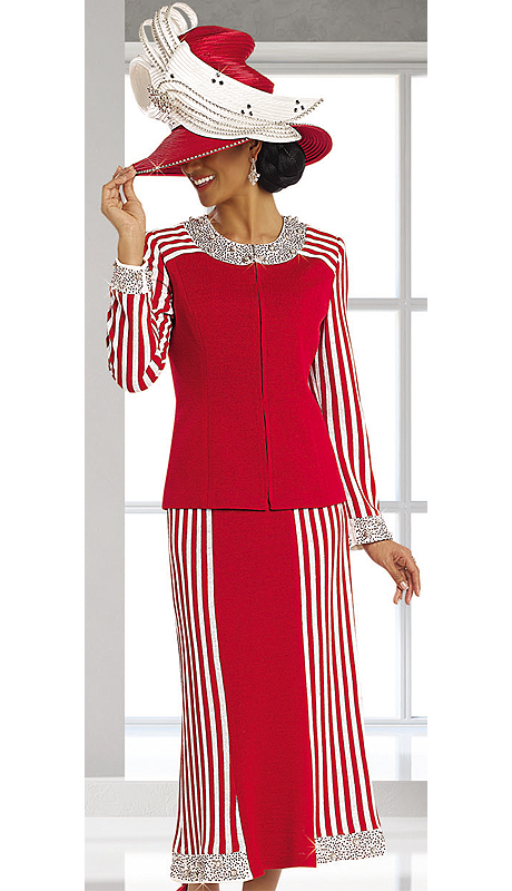 Donna Vinci Knits 13145-RWCO ( 2pc Exclusive Knit Church Suit With Elaborate Rhinestone And Novelty Trims )