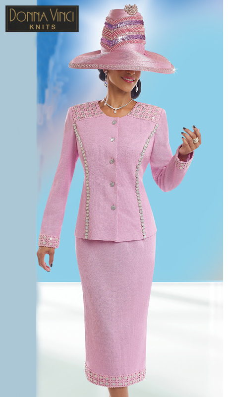 Donna Vinci Knits 13199 ( 2pc Exclusive Knit Womens Church Suit With Elaborate Large Rhinestone Trims And Buttons )