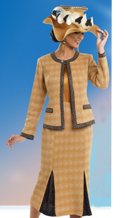 DonnaVinciKnits 13193 ( 3pc Exclusive Jacquard Knit Church Suit With Gold Rhinestones )