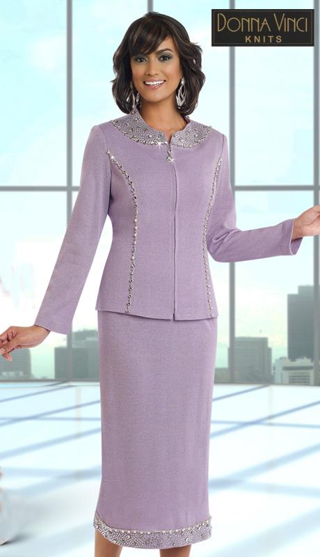 DonnaVinciKnits 13191 ( 2pc Exclusive Knit Womens Church Dress With Elaborate Rhinestone Trims )