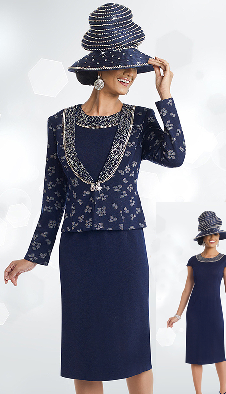 DonnaVinciKnits 13192 ( 2pc Exclusive Solid And Jacquard Knit Womens Dress For Church With Elaborate Rhinestones )