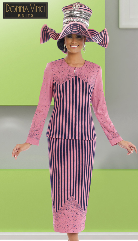 Donna Vinci Knits 13201 ( 2pc Exclusive Solid And Jacquard Knit Womens Dress With Elaborate Rhinestone Trims )
