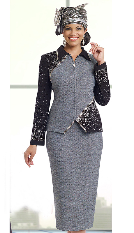 DonnaVinciKnits 13202 ( 2pc Exclusive Knit Womens Suit With Elaborate Rhinestone Trims )