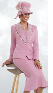 DonnaVinciKnits 13190 ( 2pc Exclusive Knit Womens Church Suit With Pearl And Rhinestone Trims And Button )