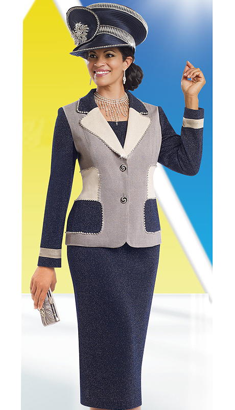 DonnaVinciKnits 13189 ( 2pc Exclusive Knit Womens Church Suit With Rhinestone Trims And Buttons )
