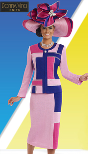 Donna Vinci Knits 13181 ( 2pc Exclusive Knit Ladies Church Suits With Rhinestone Trims )