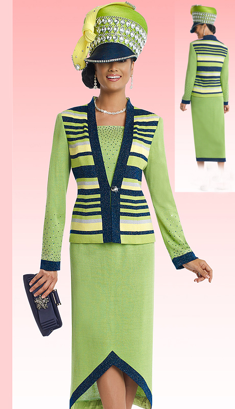 DonnaVinciKnits 13188 ( 2pc Exclusive Knit Womens Church Suit With Rhinestone Trims )