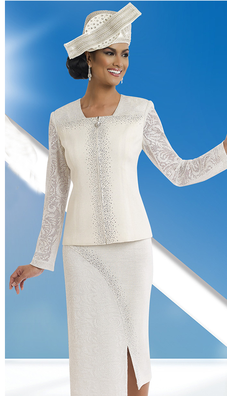 Donna Vinci Knits 13198 ( 2pc Exclusive Knit Ladies Suit With Jacquard And Elaborate Rhinestone Trims )